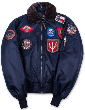 Бомбер Top Gun Official B-15 Flight Bomber Jacket with Patches (синій)